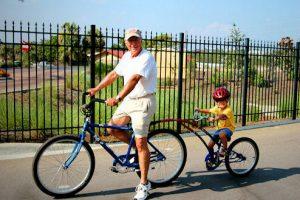 Riding bikes through Adagio condominium resort in Blue Mountain Beach, FL