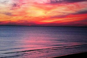 A sunset at Adagio condo vacation rentals, Blue Mountain Beach, Florida