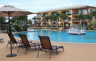 large decks around the pools at Adagio